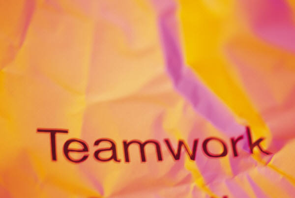 Fabric with an image of the words teamwork