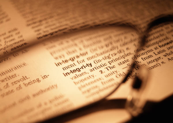 Opened Dictionary at the word Integrity
