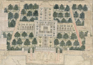 Taj Mahal's Chahar Bagh in a painting at the Smithsonian