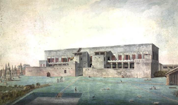 British East India Company Factory in Asia. Back view of a factory with high surrounding walls. In the foreground a tank, to the left the cemetery with large tombs. A sepoy sentry stands outside the wall and an English man sheltered by an umbrella and accompanied by servants is approaching the entrance. Painting 1790-1800.