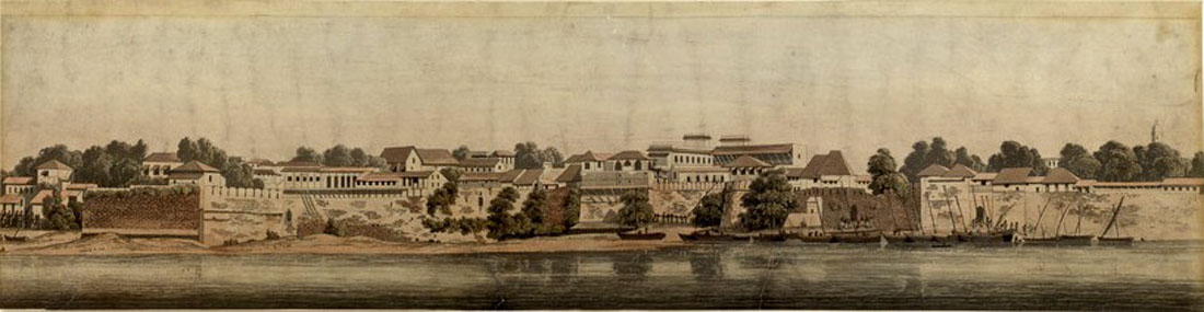 Panel 3 Panorama of Surat, a colored aquatint by Alfred Robert Freebairn, 1830