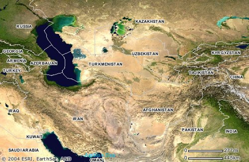 Central Asia Satellite Image Map - Asia satellite map