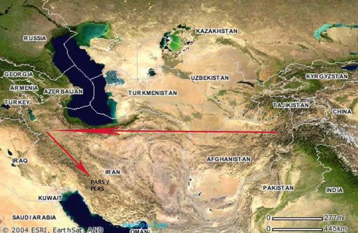 Map showing Iran and Central Asia