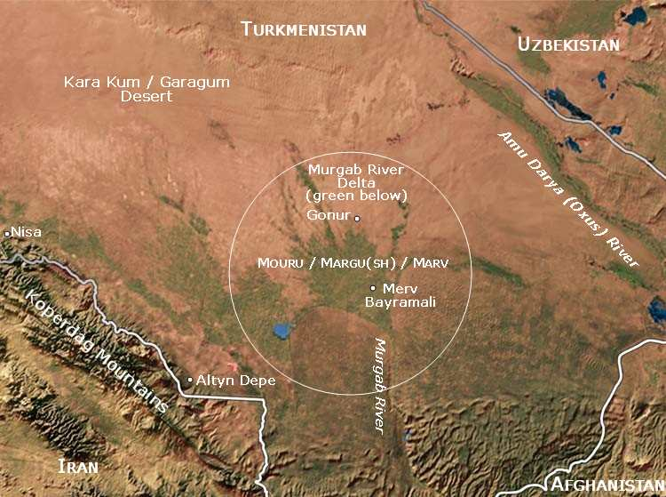 South Turkmenistan Mugrab delta and oasis