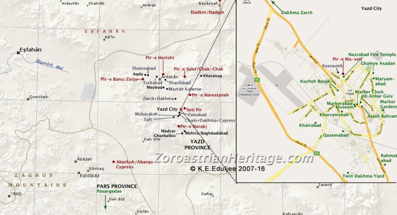 Map of Yazd Zoroastrian sites. Click for a larger map. Base map courtesy Microsoft Encarta. Additions copyright K. E. Eduljee. This map cannot be copied or reproduced in any manner without permission