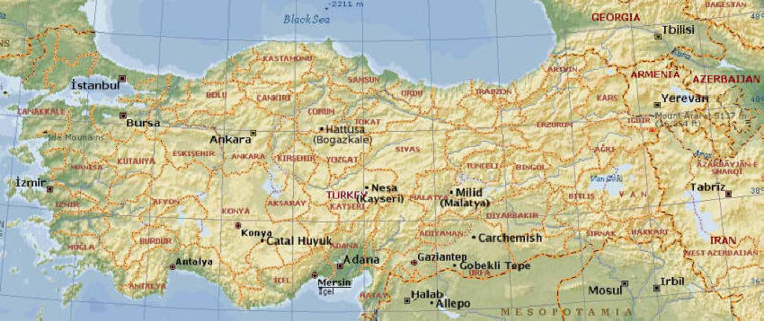 Map of Anatolia / Asia Minor. Hittite Hatti occupied land in the centre of this map. Base image courtesy Microsoft Encarta