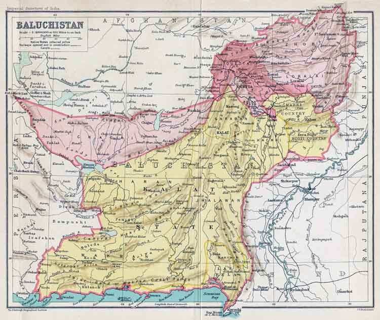 Balochistan / Baluchistan Region 1900s. Click to see a larger map