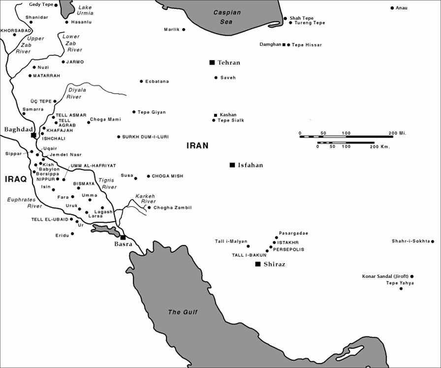 ... Sites in Iran Shahr. Base map image credit: University of Chicago