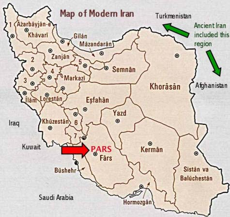 Map of Modern Iran showing Pars / Fars