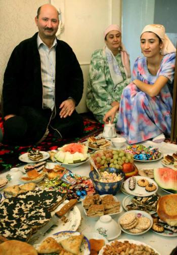 Tajik family celebrating Nowruz