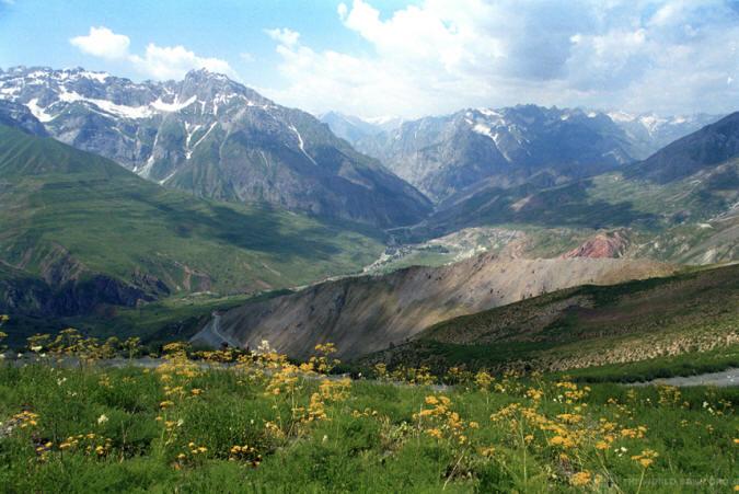 Lush green valley in Tajikistan