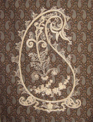 Example of the boteh motif of a termeh fabric