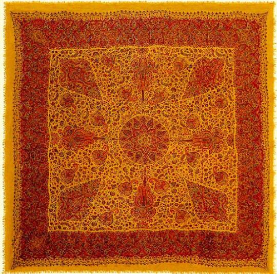 Kermani Pateh-Duzi Embroidery. Wool on wool shawl with saffron background