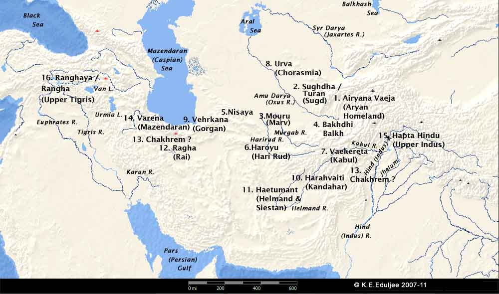 Map Of Upper Asia.Vendidad Nations Map