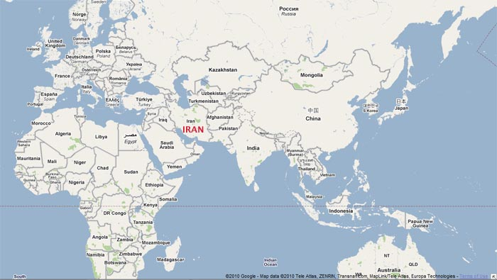 Map of world showing Iran's location